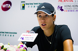 October 12, 2018 - Garbine Muguruza of Spain talks to the media after winning her quarter-final match at the 2018 Prudential Hong Kong Tennis Open WTA International tennis tournament (Credit Image: © AFP7 via ZUMA Wire)