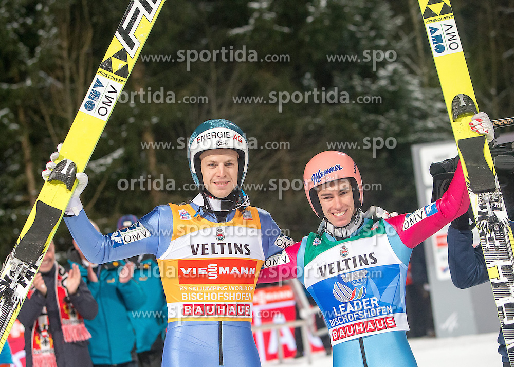 06.01.2015, Paul Ausserleitner Schanze, Bischofshofen, AUT, FIS Ski Sprung Weltcup, 63. Vierschanzentournee, Finale, im Bild v.l.: Tagessieger Michael Hayboeck (AUT) und Gesamtsieger Stefan Kraft (AUT) // Michael Hayboeck of Austria and Overall Champion Stefan Kraft of Austria during Final Jump of 63rd Four Hills <br /> Tournament of FIS Ski Jumping World Cup at the Paul Ausserleitner Schanze, Bischofshofen, Austria on 2015/01/06. EXPA Pictures &copy; 2015, PhotoCredit: EXPA/ JFK