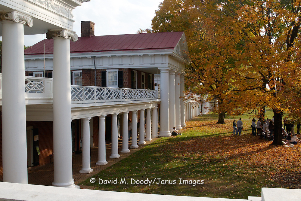 The old dorms designed by UVA's founder Thomas Jefferson. University of Virginia Campus Charlottesville, Virginia in the fall.