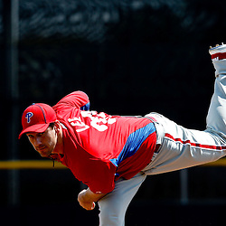 March 6, 2011; Dunedin, FL, USA; Philadelphia Phillies starting pitcher Cliff Lee (33) warms up before the bottom of the second inning of a spring training game against the Toronto Blue Jays at Florida Auto Exchange Stadium. Mandatory Credit: Derick E. Hingle-USA TODAY SPORTS
