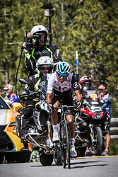 May 18, 2018 - Nevada, U.S - EGAN BERNAL closes in on Daggett Summitt, 7334 ft, along Kingsbury Grade Rd, and regains the Amgen Tour of California race lead, dominating climbs on the penultimate race day on Friday, May 18, 2018. ..Egan Bernal, Team Sky's 21-year-old Colombian rider, may have lost his King of the Mountains lead to Trek-Segafredo's Toms Skujin (LAT) in today's mountainous stage, but he regained the overall Amgen Tour of California race lead with a daring solo uphill finish that pulled him +1.25'' ahead of BMC Racing Team's Tejay van Garderen (Tacoma, Wash.), who now sits second overall going into tomorrow's Sacramento race finale. (Credit Image: © Tracy Barbutes via ZUMA Wire)