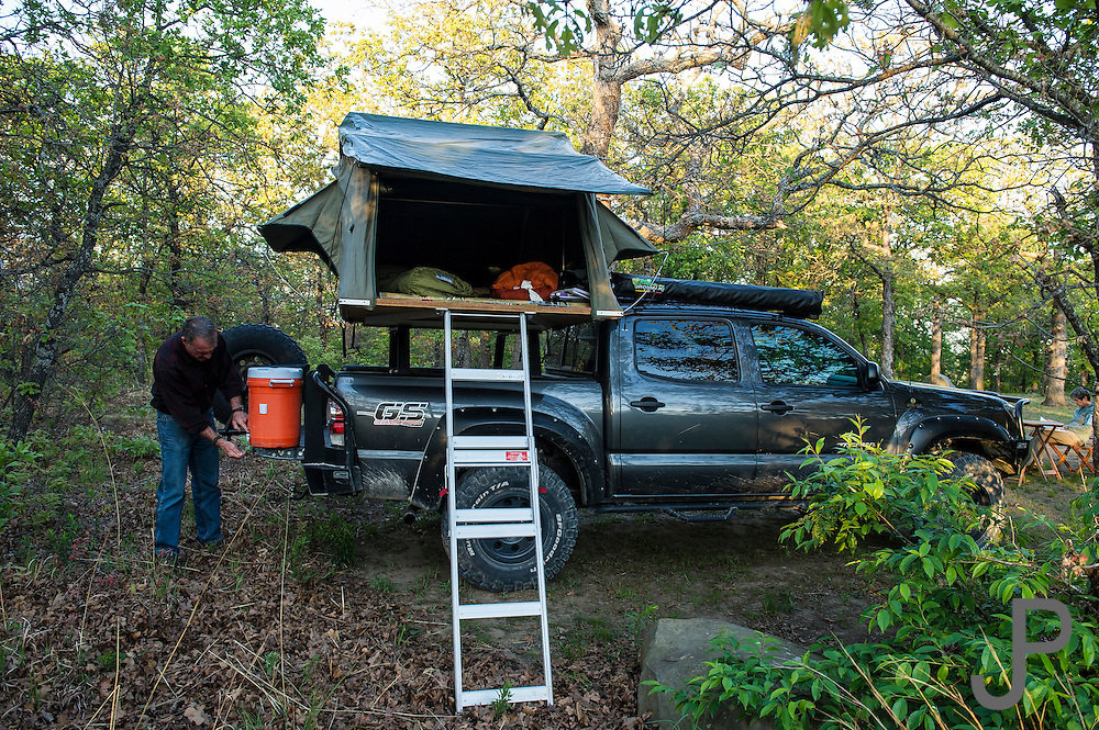 Bill and Susan Dragoo camping with their Toyota Tacoma pickup truck at Sequoyah State Park in northern Oklahoma.
