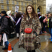 London, UK. 4th March 2018. Sophie Ellis-Bextor is a singer join the Women's Day march 2018 marks 100 years since (some) women in the UK were legally allowed to vote. One hundred years on women still marching for equality demand 50/50 women in  Paliament calling for an end sexual harassment, violence and rape.