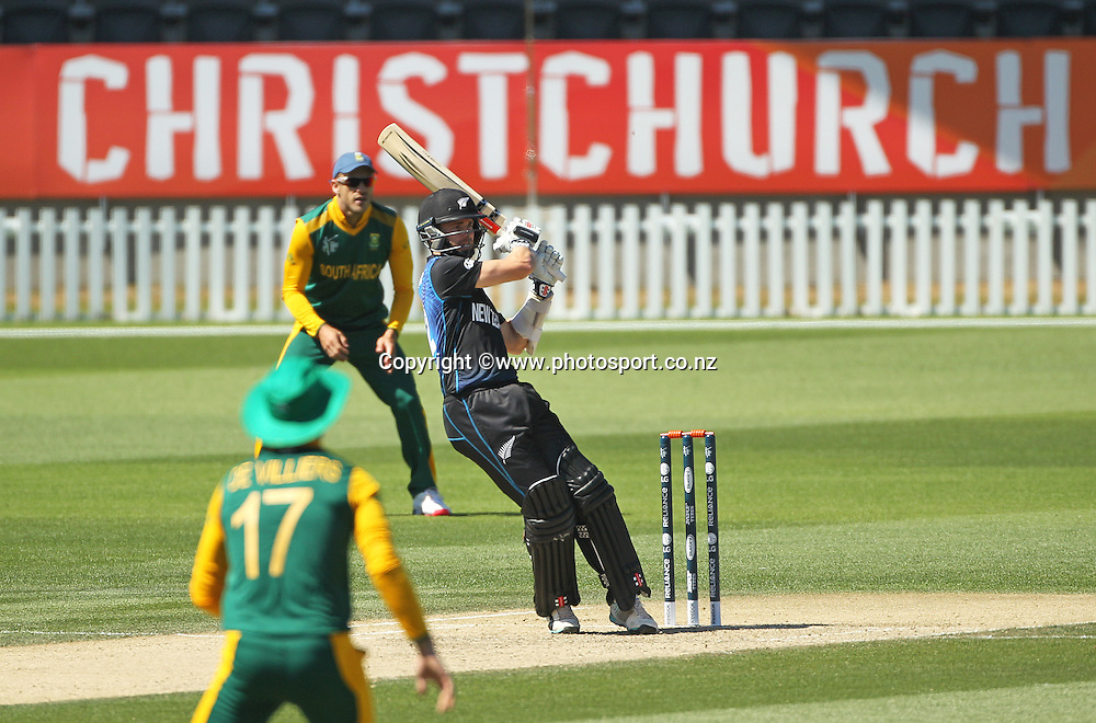 Kane Williamson of New Zealand batting during the ICC Cricket World Cup warm up game between New Zealand v South Africa at Hagley Oval, Christchurch. 11 February 2015 Photo: Joseph Johnson / www.photosport.co.nz