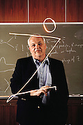Burton Richter (born 1931), American physicist and director of the Stanford Linear Accelerator Center (SLAC) since 1984. Richter has drawn the letter Z with his torch light, representing the Z-zero particle, one of the mediators of the weak nuclear force. In the 1960s, Richter worked on the Stanford electron storage rings, the first accelerator to collide subatomic particles together. In 1970-72, he directed the building of the SPEAR electron- positron Collider at SLAC, which yielded his discovery of the J/psi particle in 1974. For this work, Richter shared the 1976 Nobel prize in physics with Sam Ting, whose team at Brookhaven had also found the same particle. MODEL RELEASED [1986].