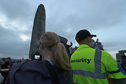 Summer Solstice<br /> Summer Solstice celebrations. This is the 14th year that English Heritage has provided free access to the stones. Members of the public and Druids gather to celebrate sunset on the eve of the longest day,<br /> Stonehenge, Wiltshire, UK. <br /> Thursday, 20th June 2013<br /> Picture by Rosalind  Butt / i-Images