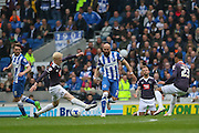 Derby County midfielder Will Hughes (19) battles with Brighton defender, Bruno Saltor (2) during the Sky Bet Championship match between Brighton and Hove Albion and Derby County at the American Express Community Stadium, Brighton and Hove, England on 2 May 2016. Photo by Phil Duncan.