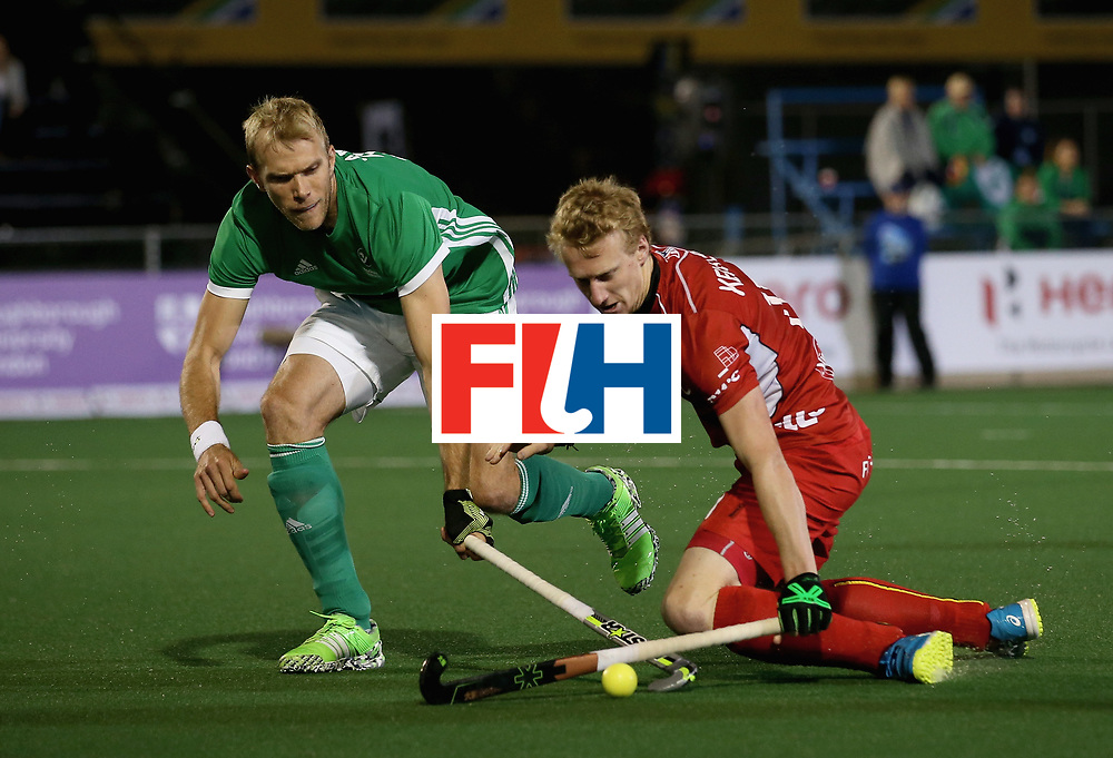 JOHANNESBURG, SOUTH AFRICA - JULY 11: Amaury Keusters of Belgium and Conor Harte of Ireland battle for possession during day 2 of the FIH Hockey World League Semi Finals Pool B match between Belgium and Ireland at Wits University on July 11, 2017 in Johannesburg, South Africa. (Photo by Jan Kruger/Getty Images for FIH)