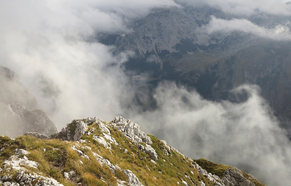 VIew onto clouds and chaning weather from Maglic mountain, Bosnia and Herzegovina.