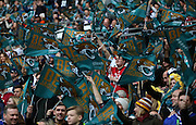 The majority of the crowd seemed to be jaguars fans during the Buffalo Bills v Jacksonville Jaguars NFL International Series match at Wembley Stadium, London, England on 25 October 2015. Photo by Matthew Redman.