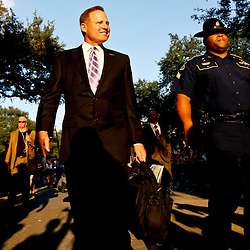 November 3, 2012; Baton Rouge, LA, USA; LSU Tigers head coach Les Miles walks with his team down Victory Hill prior to kickoff of a game against the Alabama Crimson Tide at Tiger Stadium.  Mandatory Credit: Derick E. Hingle-US PRESSWIRE