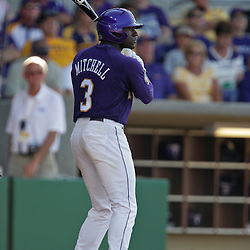 06 June 2009:  Jared Mitchell (3) of LSU at bat during a 5-3 victory by the LSU Tigers over the Rice Owls in game two of the NCAA baseball College World Series, Super Regional played at Alex Box Stadium in Baton Rouge, Louisiana. The Tigers with the win advance to next week's College Baseball World Series in Omaha, Nebraska.