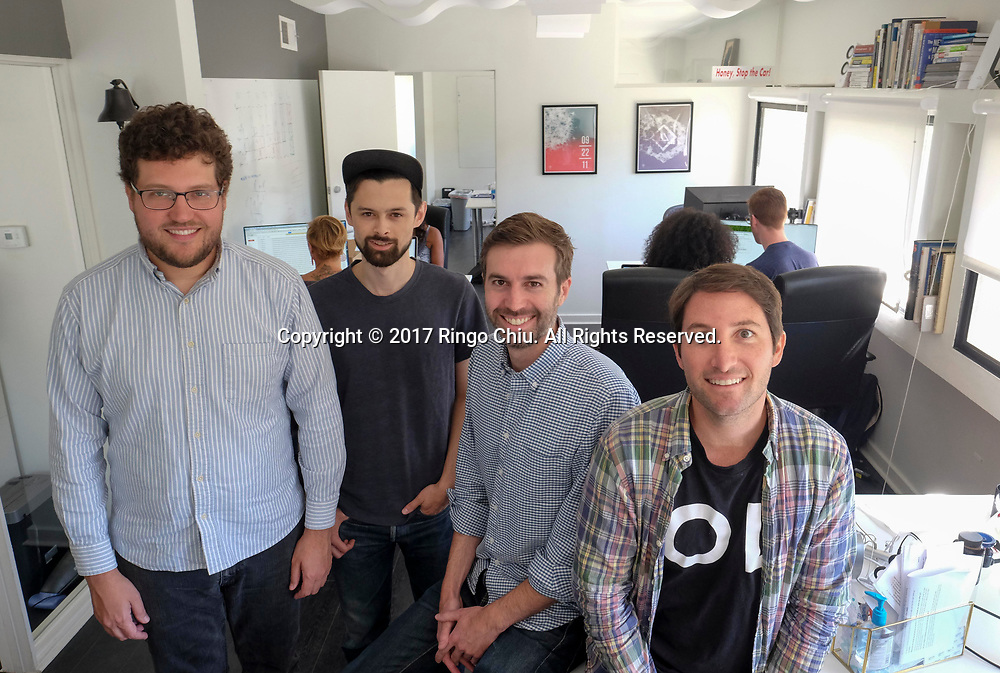 Left to right, co-founders Alex Farrill, Peter Sugihara, Stuart Law, and Judd Schoenholtz of Open Listings, a real estate tech company in Los Angeles.(Photo by Ringo Chiu)<br /> <br /> Usage Notes: This content is intended for editorial use only. For other uses, additional clearances may be required.