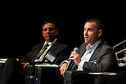 """Valery Miftakhov PhD, CEO Electric Motor Werks (Palo Alto), on the panel """"Where Are You Joe Schumpeter? A Discussion on Electric Vehicles"""" at the Manhattan Chamber of Commerce's Transportation Transformation Global Summit at NYIT in New York on April 26, 2012."""