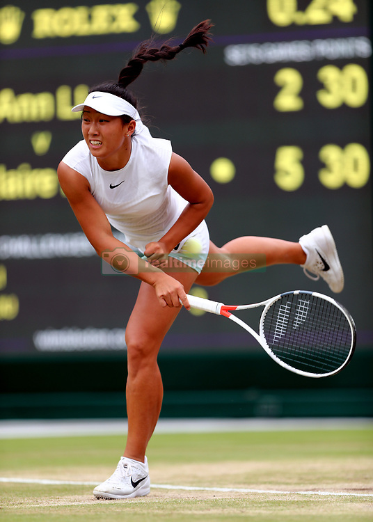 Claire Liu in action against Ann Li during the girls singles final on day twelve of the Wimbledon Championships at The All England Lawn Tennis and Croquet Club, Wimbledon.