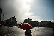 A typical spring day in Dublin, blazing sunshine followed by heavy showers.