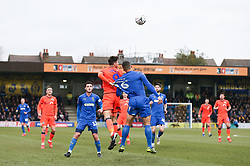 Lee Gregory of Millwall and Rod McDonald of AFC Wimbledon tussle for a header - Mandatory by-line: Arron Gent/JMP - 16/02/2019 - FOOTBALL - Cherry Red Records Stadium - Kingston upon Thames, England - AFC Wimbledon v Millwall - Emirates FA Cup fifth round proper