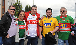 Mayo supporters mind their Rossie from left Seamus Murray, Fiona Concannon, Gearoid Concannon, Niall Dooney and Ger Concannon<br /> on their way to the Croke park for the All Ireland quarter final replay<br /> Pic Conor McKeown