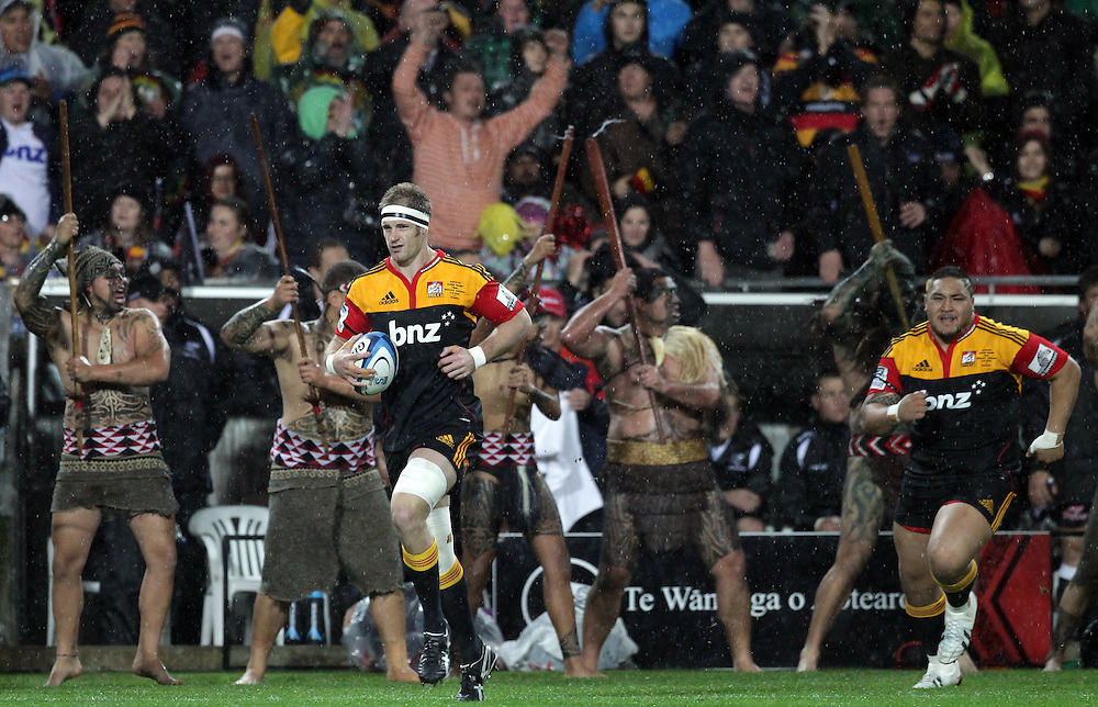 Chiefs' captain Craig Clarke leads his team onto the field to play the Sharks in the Super Rugby Final, Waikato Stadium, Hamilton, New Zealand, Saturday, August 04, 2012.  Credit:SNPA / David Rowland
