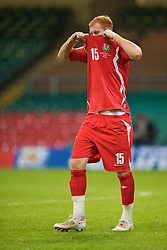 CARDIFF, WALES - Saturday, October 11, 2008: Wales' James Collins walks off after the 2-0 victory over Liechtenstein during the 2010 FIFA World Cup South Africa Qualifying Group 4 match at the Millennium Stadium. (Photo by David Rawcliffe/Propaganda)