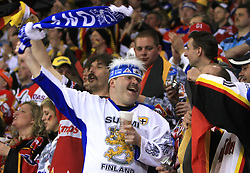 Fans of Germany and Finland  at ice-hockey match Finland vs Germany (they played in replika jerseys like they were in year 1932) at Preliminary Round (group C) of IIHF WC 2008 in Halifax, on May 03, 2008 in Metro Center, Halifax, Canada. (Photo by Vid Ponikvar / Sportal Images)Won of Finland 5:1.