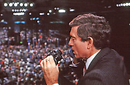 Dan Rather in the CBS booth at the Democratic Convention in 1984..Photograph by Dennis Brack bb 19
