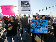 Protesters march through the streets of Pasco back to Volunteer Park Saturday following the rally for Antonio Zambrano-Montes. Zambrano-Montes was shot and killed by Pasco police in front of Vinny's Bakery at 10th Ave. and Lewis St. in Pasco on Tuesday, Feb. 10.