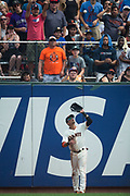 San Francisco Giants center fielder Gorkys Hernandez (66) catches a St. Louis Cardinals fly ball at AT&T Park in San Francisco, California, on September 3, 2017. (Stan Olszewski/Special to S.F. Examiner)