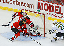 Oct 22, 2008; Newark, NJ, USA; New Jersey Devils left wing Mike Rupp (17) blocks a shot by Dallas Stars left wing Loui Eriksson (21)  during the first period at the Prudential Center.