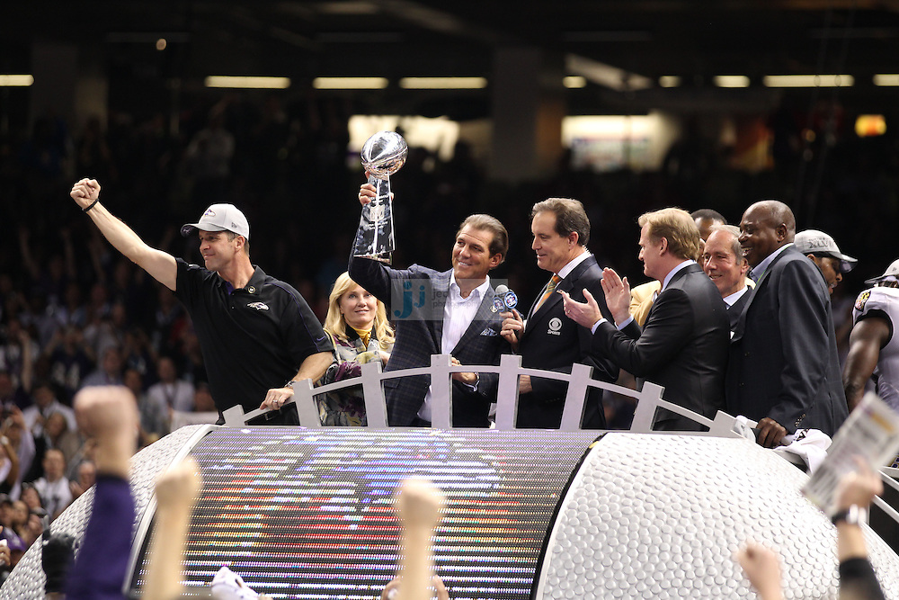 Owner Steve Bisciotti of the Baltimore Ravens celebrates with the Vince Lombardi Trophy after defeating the San Francisco 49ers during the NFL Super Bowl XLVII football game in New Orleans on Feb. 3, 2013. The Ravens won the game, 34-31.  (Photo by Jed Jacobsohn)