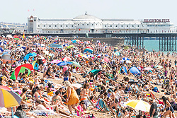 © Licensed to London News Pictures. 31/07/2020. Brighton, UK. Thousands of people take to the beach in Brighton And Hove on one of the hottest days of the year so far. Photo credit: Hugo Michiels/LNP