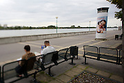 Red Noses Day ad, people relaxing along the Danube.