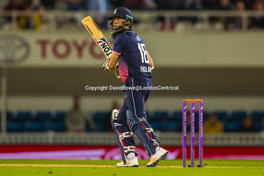 London,UK. 27 September 2017.  Moeen Ali batting for England. England v West Indies. In the fourth Royal London One Day International at the Kia Oval.