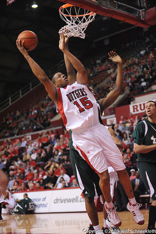 Mar 7, 2009; Piscataway, NJ, USA; Rutgers forward J.R. Inman (15) puts up a reverse layup during the first half of Rutgers' senior day game against South Florida at the Louis Brown Athletic Center.  Rutgers won 45-42.