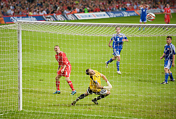 CARDIFF, WALES - Saturday, October 11, 2008: Wales' captain Craig Bellamy see his shot hit the cross-bar as Liechtenstein's goalkeeper Peter Jehle is beaten during the 2010 FIFA World Cup South Africa Qualifying Group 4 match at the Millennium Stadium. (Photo by David Rawcliffe/Propaganda)
