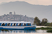 Ferry boats on Lake Patzcuaro near Janitzio Island, Michoacan, Mexico.