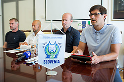 Ivo Jan, Dejan Kontrec, Nik Zupancic and Matjaz Rakovec at press conference of HZS and Nik Zupancic as a new head coach of Slovenian national hockey team, on June 15th, in Hala Tivoli , Ljubljana, Slovenia. Photo by Matic Klansek Velej / Sportida