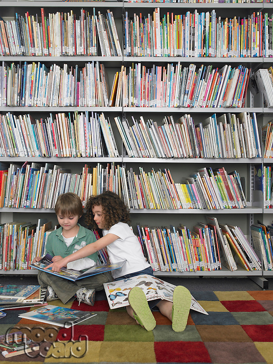 Boy and Girl with Picture Books