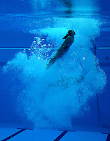 A diver practices before the women's synchronized 10m platform diving final during day 4 of the London Olympic Games London, 31 Jul 2012..(Jed Jacobsohn/for The New York Times)....