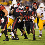 15 September 2018: San Diego State Aztecs running back Juwan Washington (29) rushes the ball in the first quarter. The Aztecs beat the Sun Devils 28-21 at SDCCU Stadium in San Diego, California.