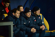 York City Manager Jackie McNamara and York City Assistant Manager Simon Donnelly during the Sky Bet League 2 match between Oxford United and York City at the Kassam Stadium, Oxford, England on 1 March 2016. Photo by Adam Rivers.