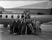 09/09/1960<br /> 09/09/1960<br /> 09 September 1960<br /> Icelandic national soccer team due to play Ireland at Dalymount Park arrives at Dublin Airport. Image shows the Icelandic team and officials disembarking from their flight.
