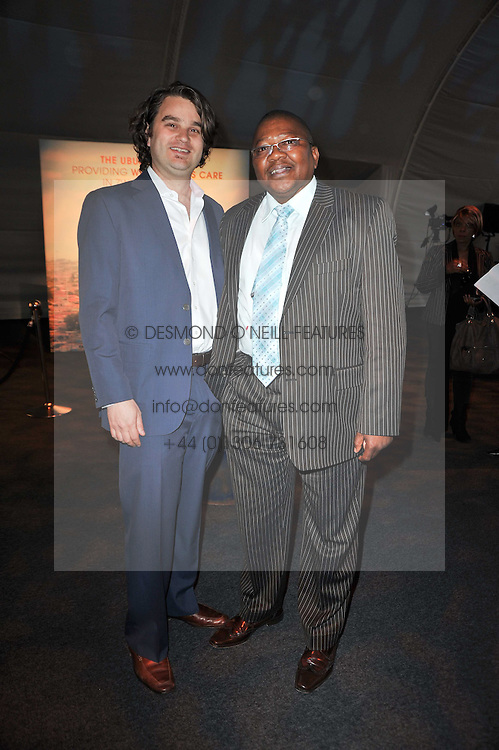 Left to right, JACOB LIEF and BANKS GWAXULA co-founders of the Ubuntu Education Fund at a gala evening in aid of Ubuntu Education Fund held at Battersea Power Station, London on 4th May 2011.