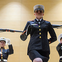 Josclyn Fink performs a mixed drill routine with other members of the Grants High School Marines Junior Officer Reserve Training Corps during an awards ceremony at Grants High School Wednesday.