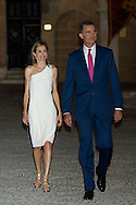 King Felipe VI of Spain and Queen Letizia of Spain attend a Reception to the authorities of the Balearic Islands and a representation of the Balearic society at Palacio de la Almudaina on August 7, 2014 in Palma de Mallorca, Spain