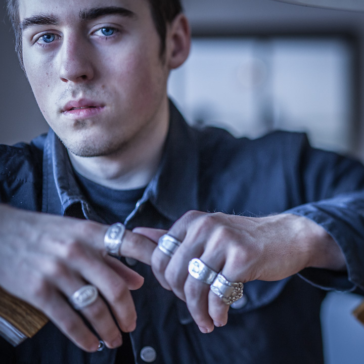 "Photographer Michael Huff with his ""spoon"" rings, Anchorage"
