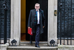© Licensed to London News Pictures. 09/01/2018. London, UK. Scotland Secretary David Mundell leaves 10 Downing Street after the first meeting of the Cabinet after Prime Minister Theresa May's reshuffle. Photo credit: Rob Pinney/LNP