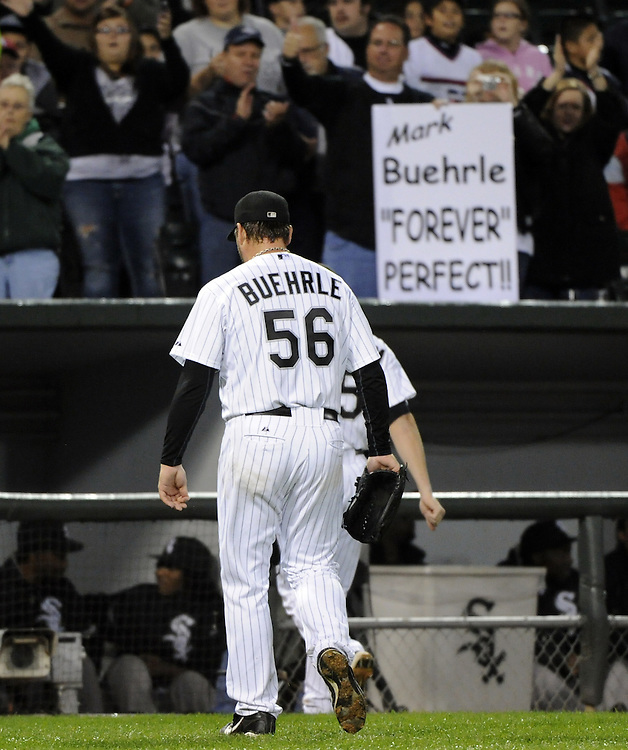CHICAGO - SEPTEMBER 27:  Mark Buehrle #56 of the Chicago White Sox walks toward toward the dugout during the game against the Toronto Blue Jays on September 27, 2011 at U.S. Cellular Field in Chicago, Illinois.  Buehrle's appearance could be his last in a White Sox uniform. The White Sox defeated the Blue Jays 2-1.  (Photo by Ron Vesely)   Subject: Mark Buehrle..