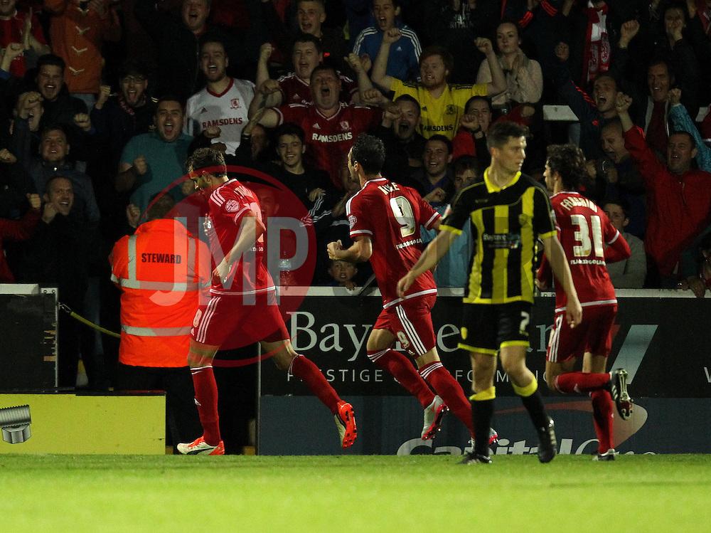 Christian Stuani of Middlesbrough celebrates his second goal - Mandatory byline: Robbie Stephenson/JMP - 07966386802 - 25/08/2015 - FOOTBALL - Pirelli Stadium -Burton,England - Burton Albion v Middlesbrough - Capital One Cup - Second Round