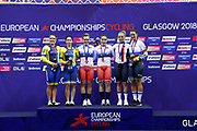 Podium Women Team Sprint, Daria Shmeleva - Anastasiia Voinova (Russian Federation) Gold medal, Liubov Basova - Olena Starikova (Ukraine), Emma Heinze - Miriam Welte (Germany), during the UEC Track Cycling European Championships Glasgow 2018, at Sir Chris Hoy Velodrome, in Glasgow, Great Britain, Day 2, on August 3, 2018 - Photo Luca Bettini / BettiniPhoto / ProSportsImages / DPPI - Belgium out, Spain out, Italy out, Netherlands out -
